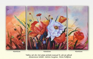 poza Bucurie (5) - tablou floral triptic ( 3 piese ), ulei pe panza de in 160x90cm, Deosebit@